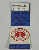 Alabama Vs Tulane Football Ticket Stub September 4 1993