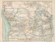 B6132 Equatorial Africa - Carta geografica antica del 1890 - Old map