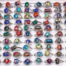 Fashion wholesale lots 5pcs malachite gemstone&silver p Colorful Women's rings