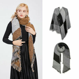 Soft Scarf Winter Warm Wrap Extra Thick Shawl Ladies Girls Knitted Plaid Blanket