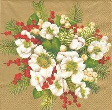 2 Serviettes papier Hellébore de Noël Decoupage Paper Napkins Hellabores Bouquet