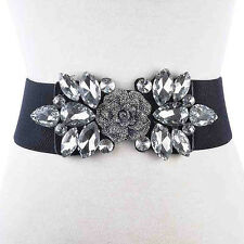 Women's Rhinestone Elastic Stretch Buckle Wide Waist Belt Adjustable Waistband