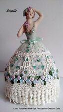 Porcelain Half Doll-Pincushion Dresser Doll-Boudoir Doll-OOAK Signed & Dated