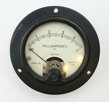 Vintage Weston AC Milliamperes Panel Meter Range 0 to 5