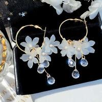 Women Jewelry Acrylic Flower Crystal Tassel Drop Dangle Earrings Accessories
