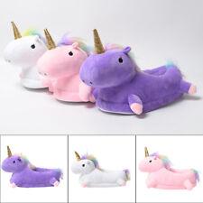 Nuevo Para Mujer Unicornio Zapatillas De Casa Animal Peluche Mantener Caliente