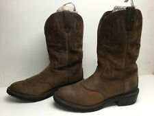VTG MENS JUSTIN WATERP. WORK BROWN BOOTS SIZE 11 EE