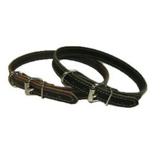 "3/4"" Handmade Solid Buffalo Leather Dog Collar with Stitched Edges"