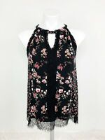 White House Black Market Black & Pink Floral Lace Tank Top Career Size Small