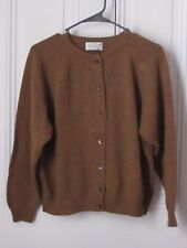 Vtg United Colors of Benneton Women's Brown Tan 100% Lambswool Cardigan Size S