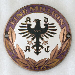 Vintage Enamelled Brass German Badge Plaque Emblem Original - ADAC