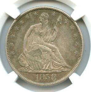 1858-O Liberty Seated Half Dollar, NGC AU58