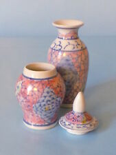 Vintage Miniature Ginger Jar & Vase, Pink, Blue, Hand Painted Thrown Pottery, 4""