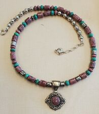 """Carolyn Pollack Sterling Southwest Pink Rhodonite Green Turquoise Necklace 18"""""""