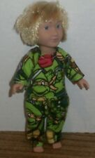 Doll Clothes-fit Mini American Girl Boy My Life-Flannel-Pajamas-Turtles