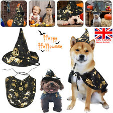 More details for pet dog halloween witch cloak cape hat puppy cat fancy dress up costume outfit