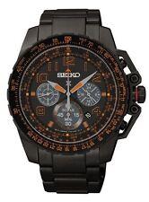 Mens Seiko Solar Black Stainless Black Dial Chronograph Diver Sport Watch SSC277