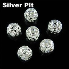 Round Filigree Spacer Beads 4mm,6mm,8mm,10mm,12mm,14mm,16mm Gold,Silver Plt.