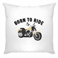 Biker Cushion Cover Born To Ride Motorcycle Slogan Motorbike Art Gift Idea