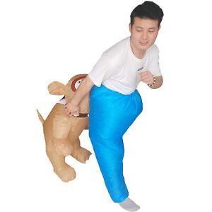 Adults Bulldog Inflatable Costume Birthday Animal Pet Fancy Dress Halloween Suit