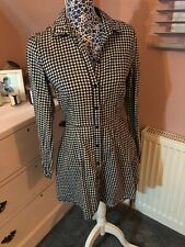 H&M Black White Gingham Long Sleeved Fitted Shirt Dress Size UK 12 Worn Once