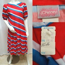 New with Tags Vintage 80s JC PENNEY ASYMMETRICAL STRIPE DRESS - Size M