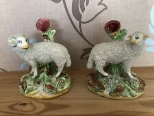 Staffordshire  Pottery. Sheep Spill Vases.