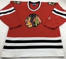 Chicago Blackhawks Starter NHL Hockey Jersey Embroidered Red L Large Vintage 90s