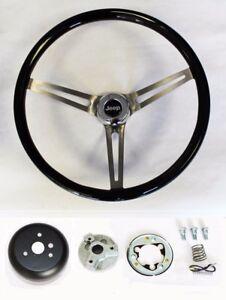 "1976-1995 Jeep CJ YJ Wrangler Black Wood Steering Wheel High Gloss Finish 15"""