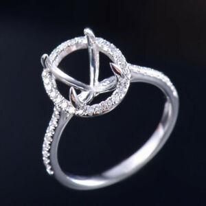 Oval 10x8mm Natural Diamond Halo Engagement Women Ring Setting 14K White Gold