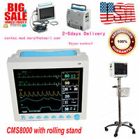 Vital Sign Patient Monitor,ECG NIBP PR SPO2 TEMP RESP+ CMS8000  Rolling Stand,US