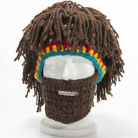 Mens Dread Lock Knit Beard Beanie Cap With Wig+Face Mask Mustache Hat Winter US