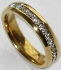 18k Yellow Gold Plated Cubic Zirconia Band Costume Rings