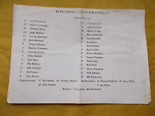 BATH UNITED V LEICESTER EXTRA XV Rugby programme -Single Sheet - Undated