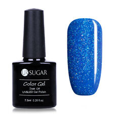 7.5ml UR SUGAR Soak Off UV Gel Nail Polish Nail Art Gel Varnish Glitter Blue 708