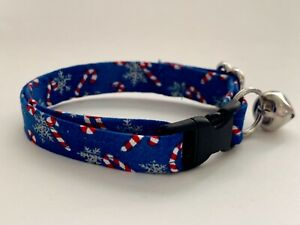 CANDY CANES AND SNOWFLAKES CAT OR KITTEN COLLAR (you choose the size)