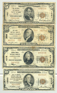 $5, $10, $20 and $100 1929 Type 1 and Type 2 National Banknote denomination set