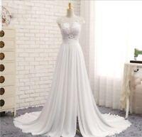 UK White Cap Sleeve Lace Chiffon Beach Cheap Wedding Dresses Bridal Size 8 or 10