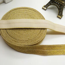 New 5 yards 15MM Gold thread Multirole foldover elastic Spandex Satin Band #11