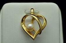 14K YELLOW GOLD OPEN HEART WITH PEARL PENDANT GOLD-181