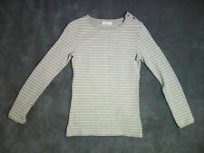 6 8 xs HENRY LLOYD beige & cream long sleeve stripe top designer fitted stretch