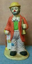 Flambro 1984 Emmett Kelly Jr. Clown with Trunk and Trumpet Porcelain Figurine