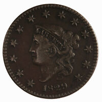 Raw 1829 Coronet Head 1C N-6 Circulated US Copper Large Cent Coin