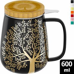 amapodo Teetasse mit Deckel und Sieb 600ml Porzellan Tasse groß Dunkelgrau