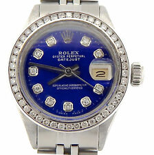 Rolex Datejust Ladies Stainless Steel Watch Blue Diamond Dial 1 ct Diamond Bezel