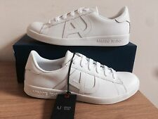 Armani Jeans AJ Applique Logo Scarpe Da Ginnastica in Pelle Misura UK 8 EUR 42