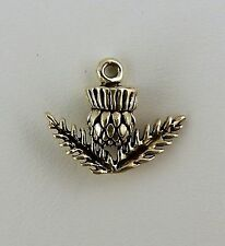 Sterling silver 3D Scottish Thistle Charm Celtic National Flower of Scotland