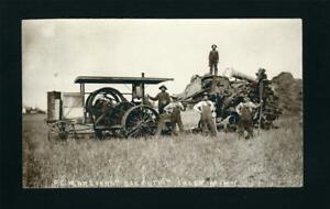 Ihlen Minnesota MN c1907/14 RPPC IHC Titan Gas Engine, Red River Thresher Crew