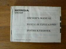 HONDA VFR750F 1989 OWNERS MANUAL BIKE  MOTORCYCLE MOTORRAD