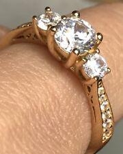 GOLD 14k Yellow 3 stone ring Round simulated Diamond Engagement 7 6 8 2.9g